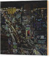 Naked Moon Over The Strip Wood Print