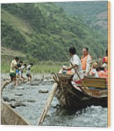 Naked Tracker Boatman Pulling Tourists Wood Print