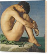 Naked Young Man Sitting By The Sea, 1836 Wood Print