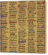 Names Of God - Inspirational Scripture Painting Wood Print
