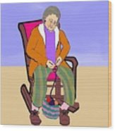Nana Knitting Wood Print