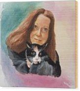Nandi And Her Cat Wood Print