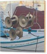 Naoussa Boat Paros Island Greece  Wood Print