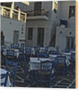Naoussa Village Paros Greece Wood Print