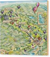 Napa Valley Illustrated Map Wood Print