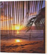 Napili Bay Sunset Maui Hawaii Wood Print