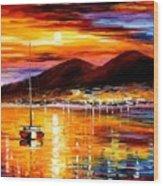 Naples - Sunset Above Vesuvius Wood Print