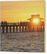 Naples Florida Sunset Pier Wood Print