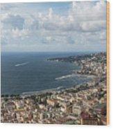 Naples Italy Aerial Perspective - Coastal Beauty Of Mergellina, Posillipo And Marechiaro Wood Print