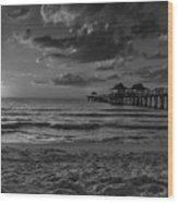 Naples Pier Bw  Wood Print
