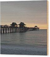 Naples Pier - Golden Hour At The Pier Wood Print