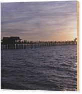 Naples Pier Sundown Wood Print