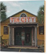 Naples Tin City - Open For Business Wood Print
