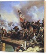 Napoleon Bonaparte Leading His Troops Over The Bridge Wood Print