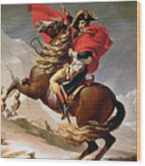 Napoleon Crossing The Alps Wood Print by Jacques Louis David