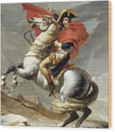 Napoleon Crossing The Alps, Jacques Louis David, From The Original Version Of This Painting  Wood Print
