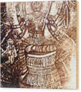 Illuminated Narasimha Dev In Sepia Wood Print