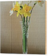 Narcissus In Glass Vase Wood Print