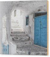 Narrow Alley And Stairway On Santorini Wood Print