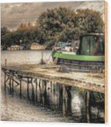 Narrow Boat And Jetty Wood Print
