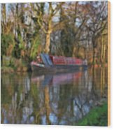 Narrow Boat On Wey Navigation - P4a16008 Wood Print