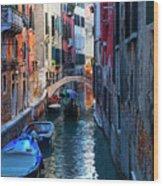 Narrow Canal View Venice Wood Print
