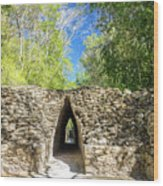 Narrow Passage In Becan, Mexico Wood Print