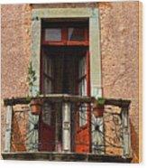 Narrow Red Window Wood Print