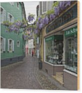 Narrow Street In Freiburg Wood Print