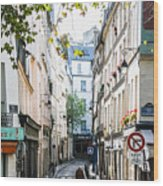 Narrow Streets Of The Latin Quarter In Paris, France Wood Print