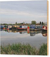 Narrowboats At Barton Marina Wood Print