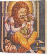 Narsimhavatar Water-color Painting,hindu Mythology,beautiful Artwork. Wood Print