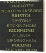 Nascar Track List Wood Print