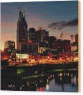 Nashville At Sunset Wood Print