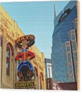 Nashville Boots Neon Sign Wood Print