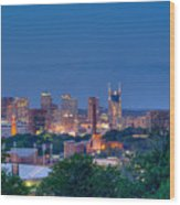 Nashville By Night 1 Wood Print