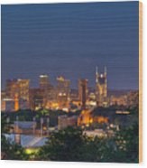 Nashville By Night 2 Wood Print by Douglas Barnett
