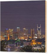 Nashville By Night 3 Wood Print by Douglas Barnett
