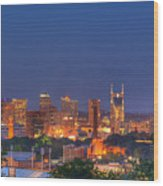 Nashville By Night Wood Print