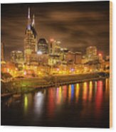 Nashville City Lights Wood Print