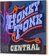 Nashville Honky Tonk Central Wood Print