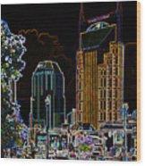 Nashville In Neon Wood Print