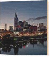 Nashville Skyline And The Cumberland Wood Print by Everett