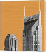 Nashville Skyline At And T Batman Building - Orange Wood Print