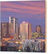 Nashville Skyline At Dusk 2018 Panorama Color Wood Print