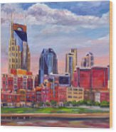 Nashville Skyline Painting Wood Print