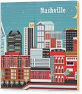 Nashville Tennessee Horizontal Skyline Wood Print