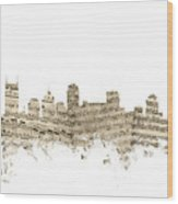 Nashville Tennessee Skyline Sheet Music Wood Print