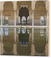 Nasrid Palace Arches Reflection At The Alhambra Granada Wood Print