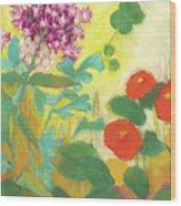 Nasturtiums, Rose Milkweed And Rue Wood Print